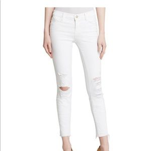J Brand Low Rise Cropped Distressed Skinny Jeans